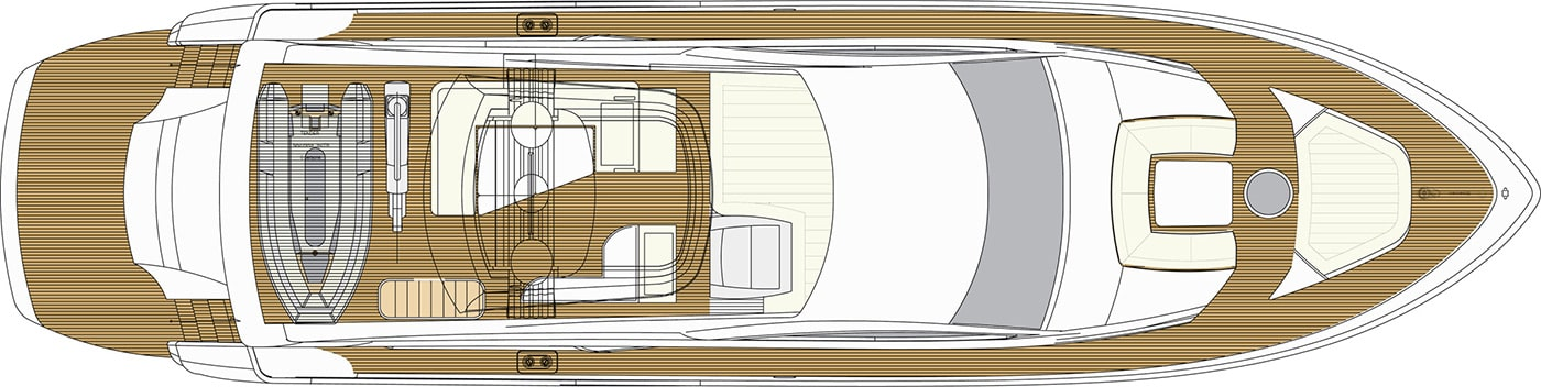 Upper deck F76 Fly Bridge Yacht