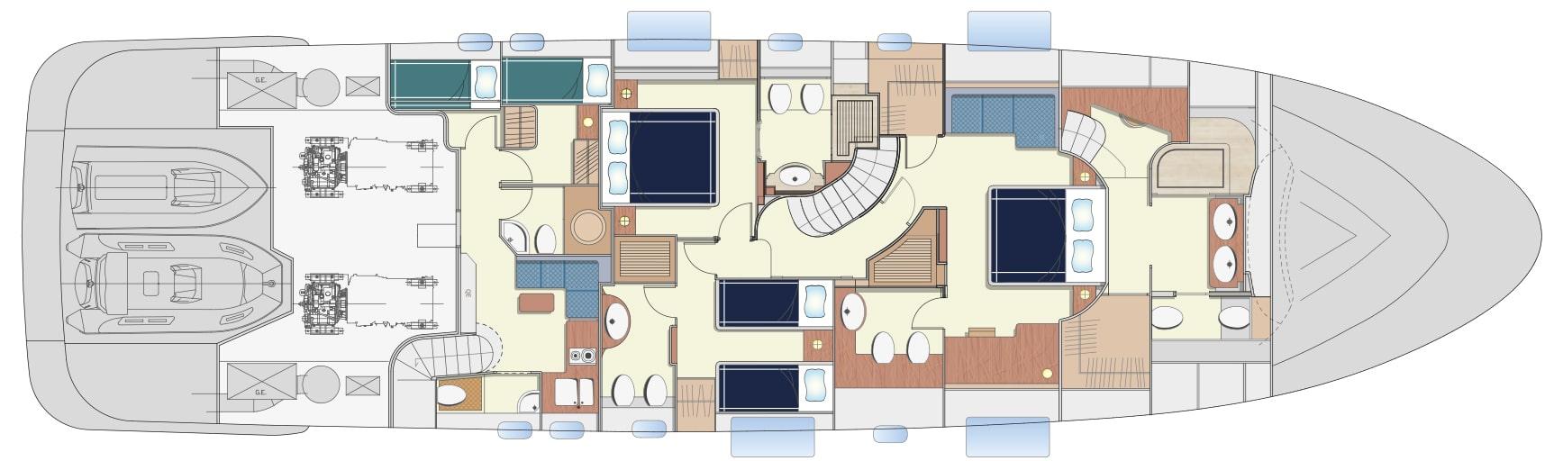 Lower Deck Version A 3 cabins