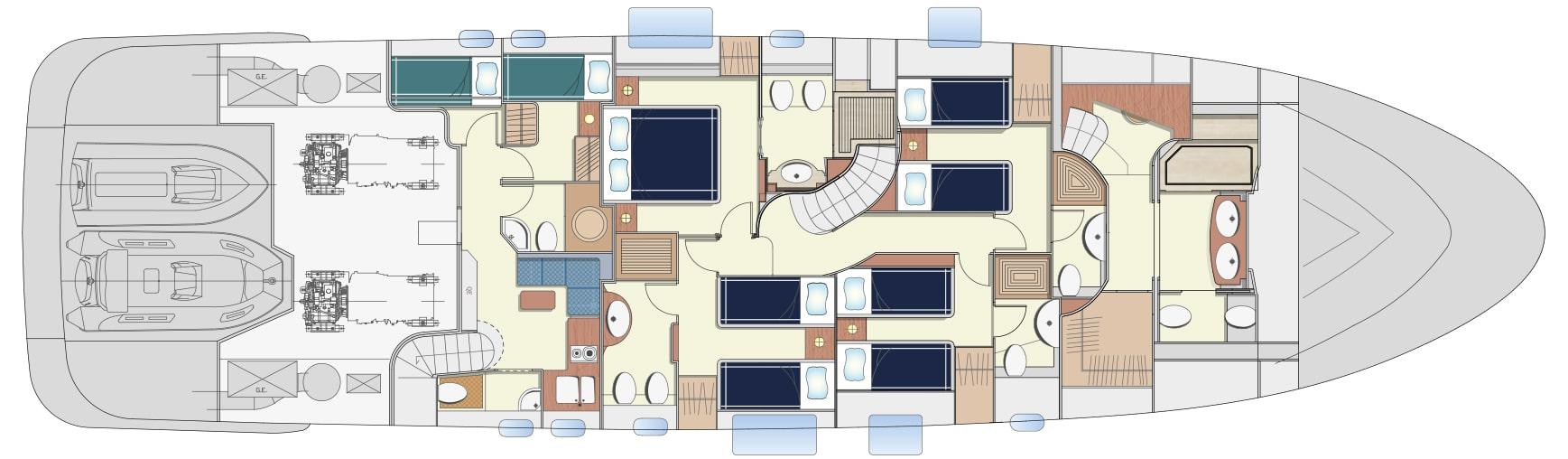 Lower deck version B 4 cabins